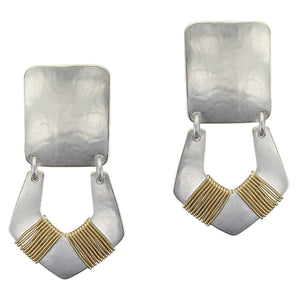 Medium Rounded Rectangle with Wire Wrapped Horseshoe Post or Clip Earring