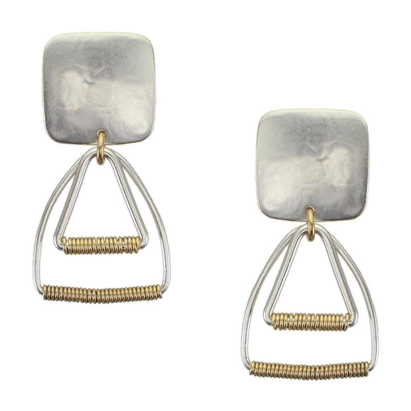 Square with Layered Triangle Rings and Wire Wrapping Post or Clip Earring