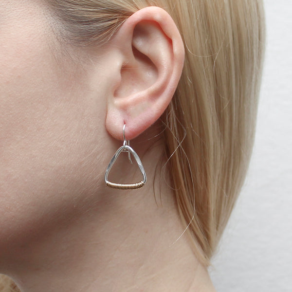 Wire Wrapped Rounded Triangle Ring Wire Earring