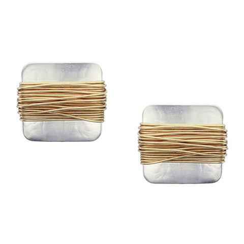 Rounded Square with Heavy Wire Wrapping Post or Clip Earring