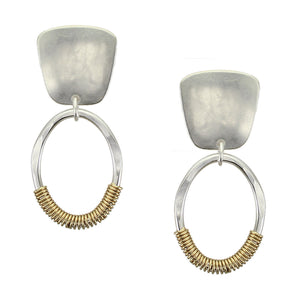 Tapered Square with Wire Wrapped Oval Ring Post or Clip Earring