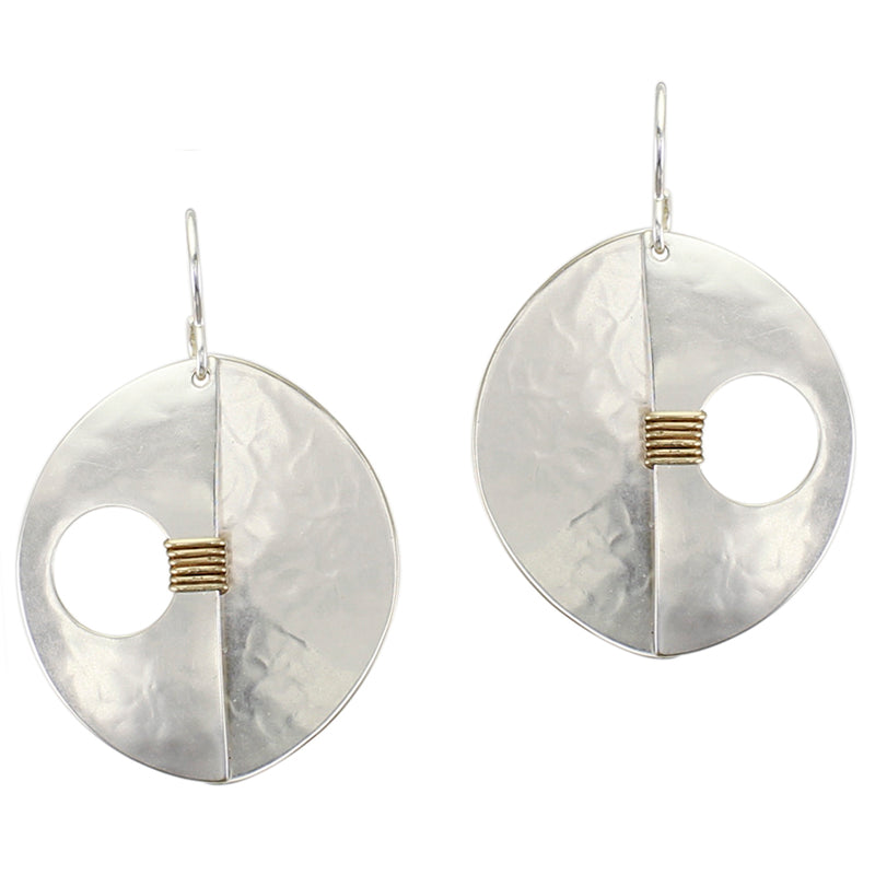 Dished Semi Circle with Overlapping Domed Semi Circle with Cutout and Wire Wrapping Wire Earring