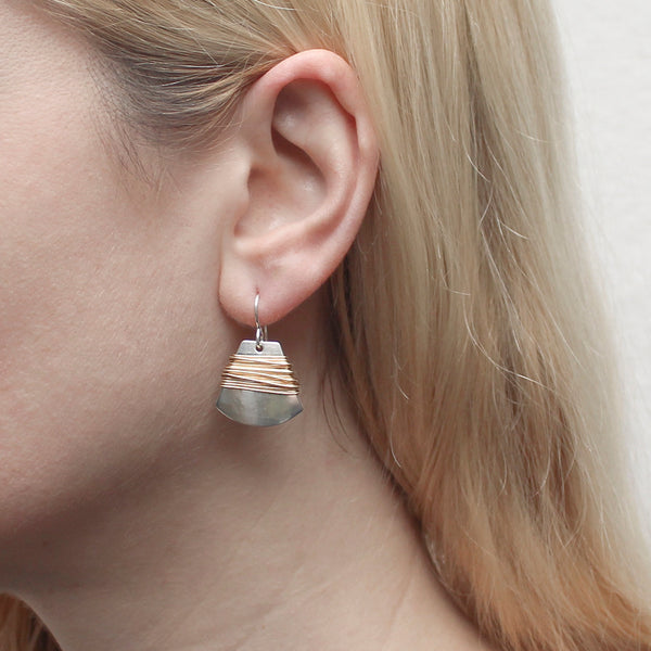 Fan with Heavy Wire Wrapping Wire Earring