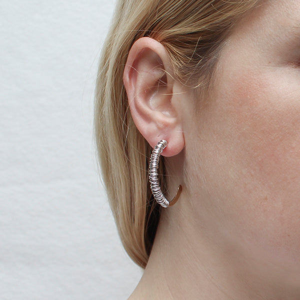 Heavy Wire Wrapped Large Hoop Earring