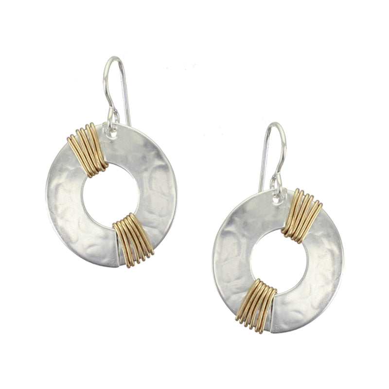 Medium Cutout with Diagonal Wire Wrapping Wire Earring