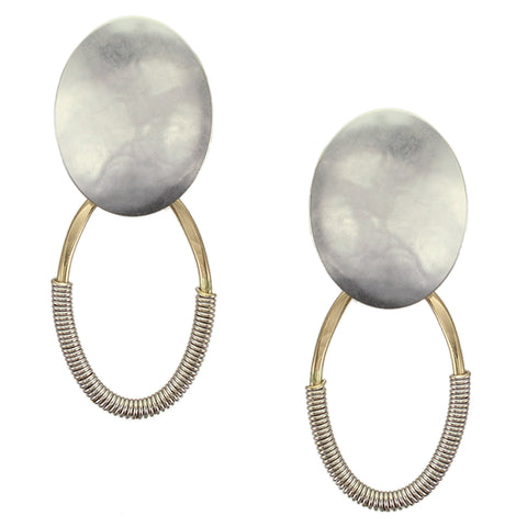 Domed Oval with Hammered Oval Ring and Wire Wrapping Post or Clip Earring