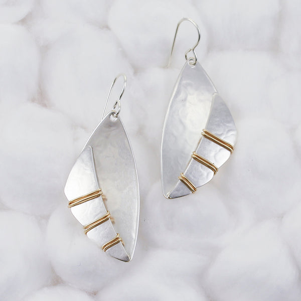 Wire Wrapped Skinny Cloud Over Dished Fin Wire Earring
