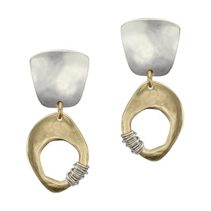 Tapered Square with Organic Cutout Disc with Heavy Wire Wrapping Post or Clip Earring