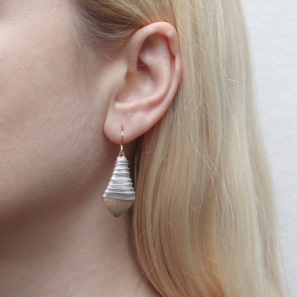Long Teardrop with Heavy Wire Wrapping Wire Earring
