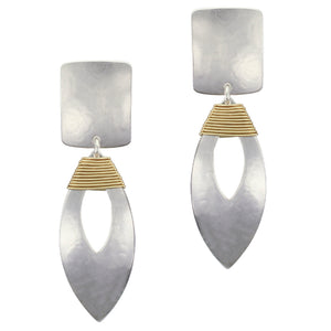 Rounded Rectangle with Cutout Leaf and Wire Wrapping Post or Clip Earring