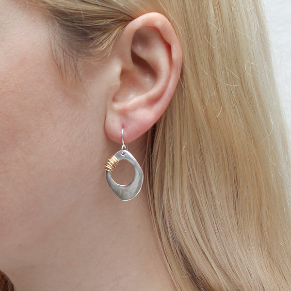 Organic Disc with Heavy Wire Wrapping Wire Earring