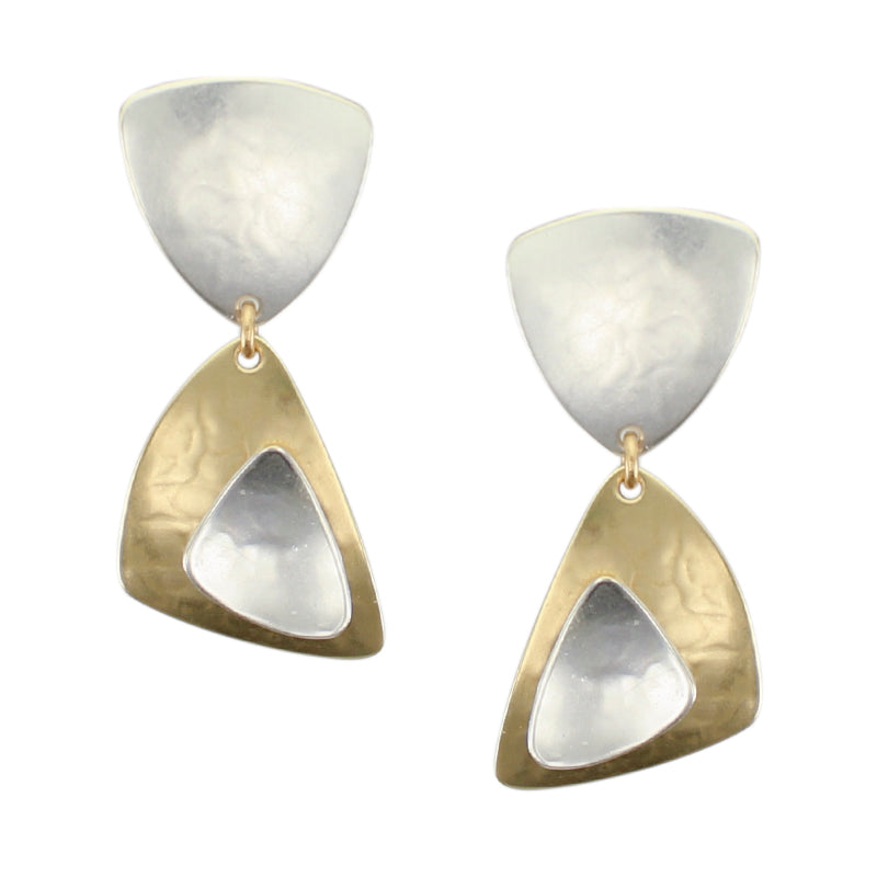 Rounded Triangle with Layered Rounded Triangles Post or Clip Earring