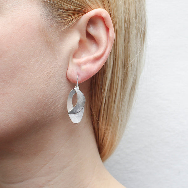 Dished Oval with Cutout and Domed Crescent Wire Earring