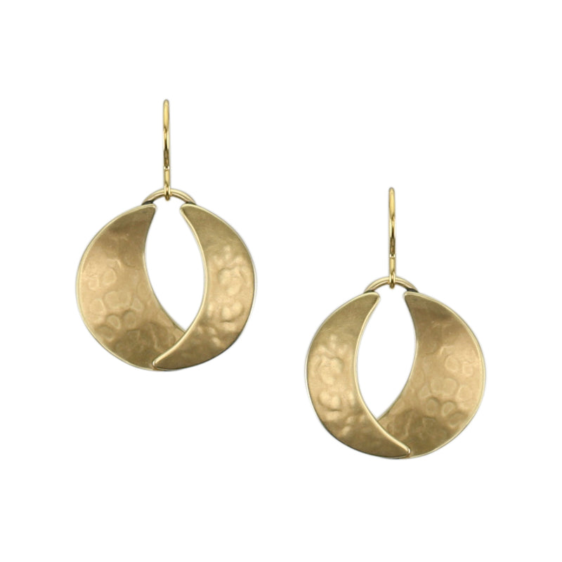 Dished and Domed Crescents Wire Earring