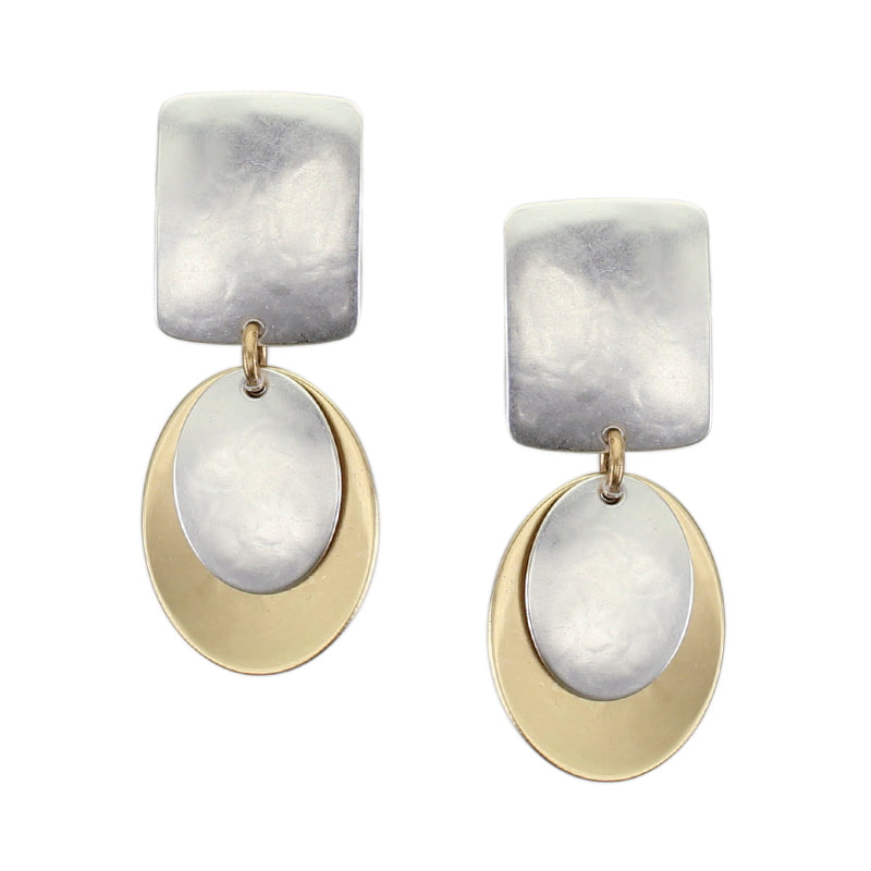 Rounded Rectangle with Layered Ovals Post or Clip Earring
