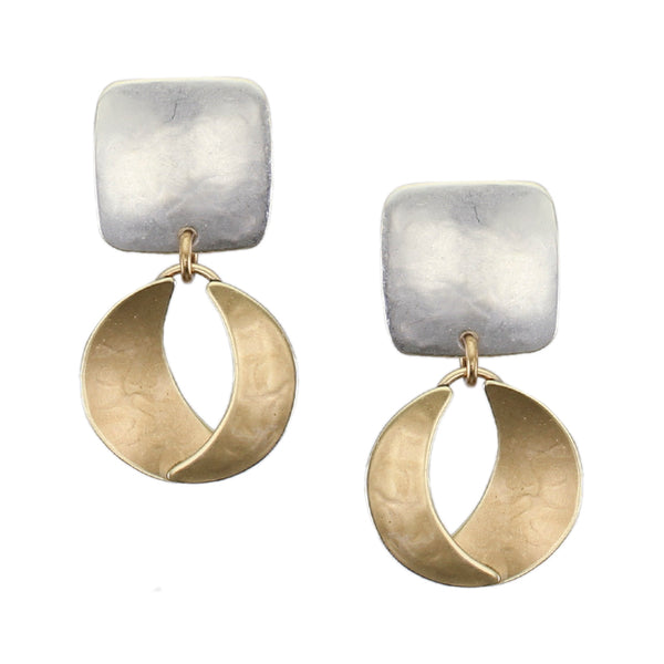 Rounded Square with Dished and Domed Crescents Post or Clip Earring