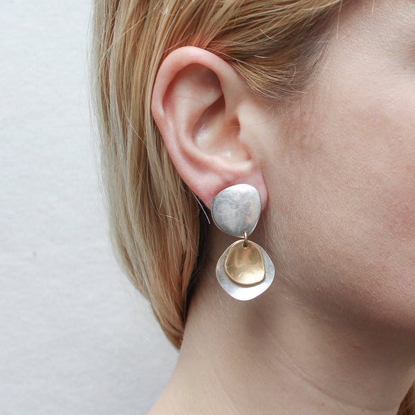 Hammered Organic Disc with Dished Organic Discs Post or Clip Earring