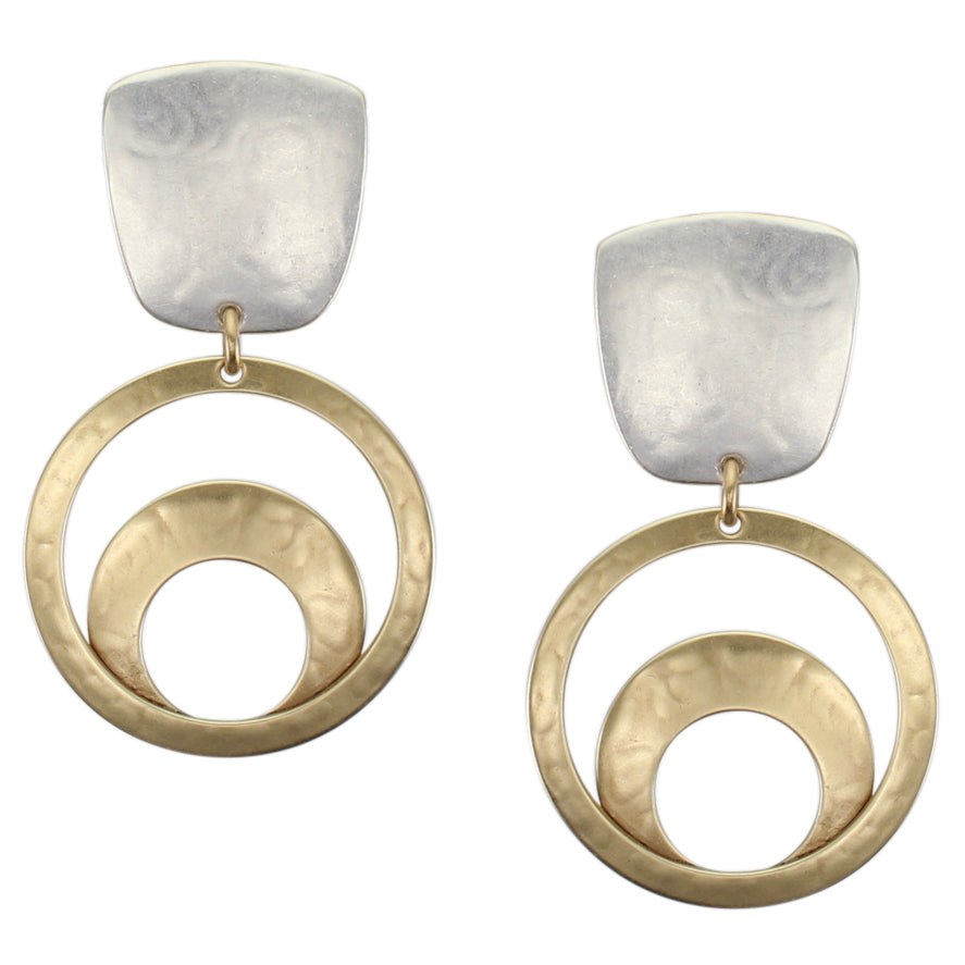 Tapered Square with Medium Ring Sunrise Post or Clip Earring