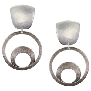 Tapered Square with Large Ring Sunrise Clip Earring