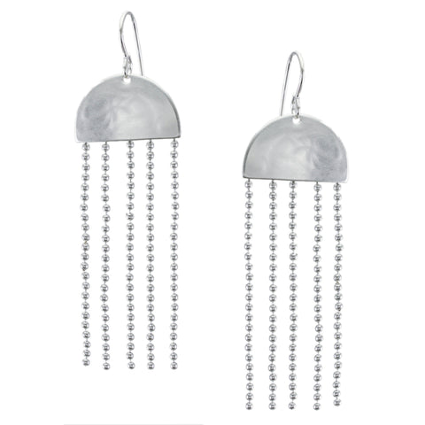 Semi Circle with Long Ball Chain Long Fringe Wire Earring