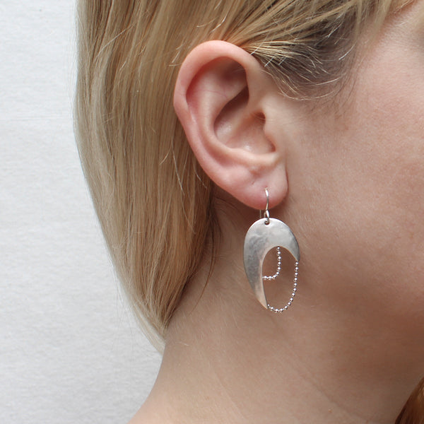 Arch with Two Ball Chain Strands Wire Earring