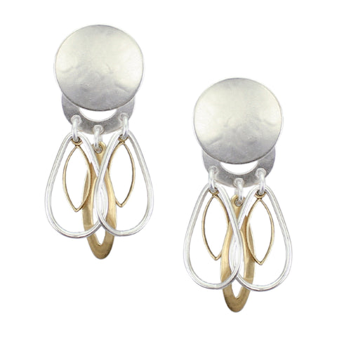 Disc with Teardrop Rings, Leaf Rings and Long Frame Post or Clip Earring