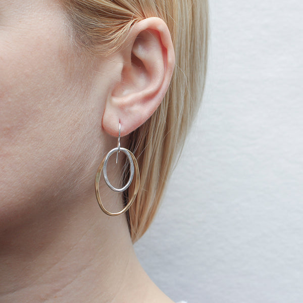 Two Hammered Wire Ovals Wire Earring