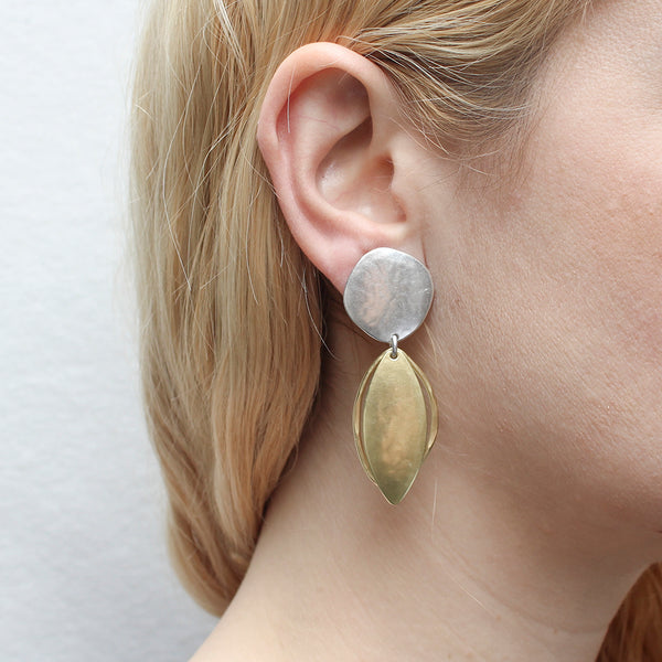 Organic Disc with Domed Leaf and Hammered Leaf Ring Post or Clip Earring