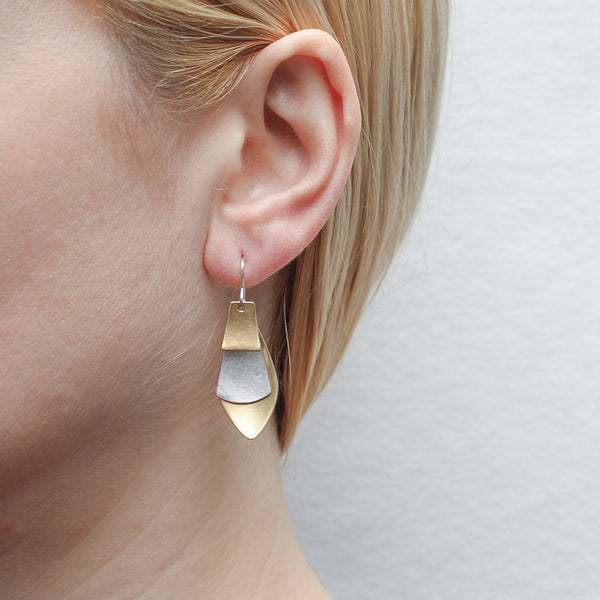 Leaf with Long Fan and Tapered Rectangle Wire Earring