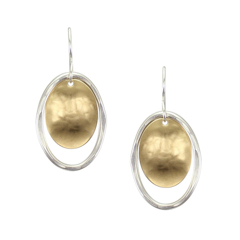 Medium Oval Disc with Wave Texture and Hammered Wire Oval Earring