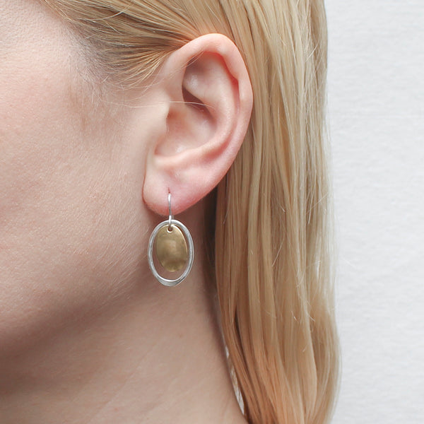 Small Oval Disc with Wave Texture and Hammered Oval Wire Earring