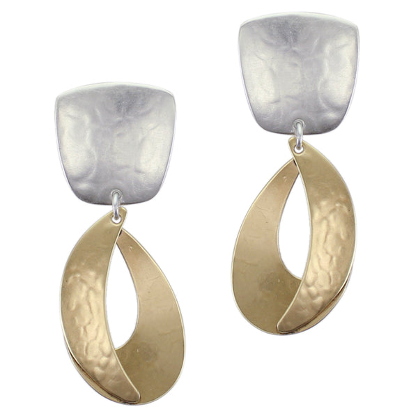 Tapered Square with Dished Swoop and Domed Crescent Post or Clip Earring