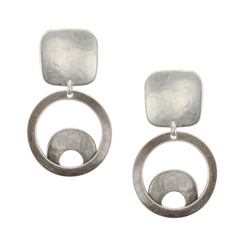 Square with Small Ring Sunrise Post or Clip Earring