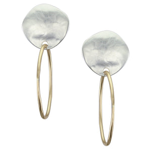 Organic Disc with Wave Texture with Wire Hoop Post or Clip Earring