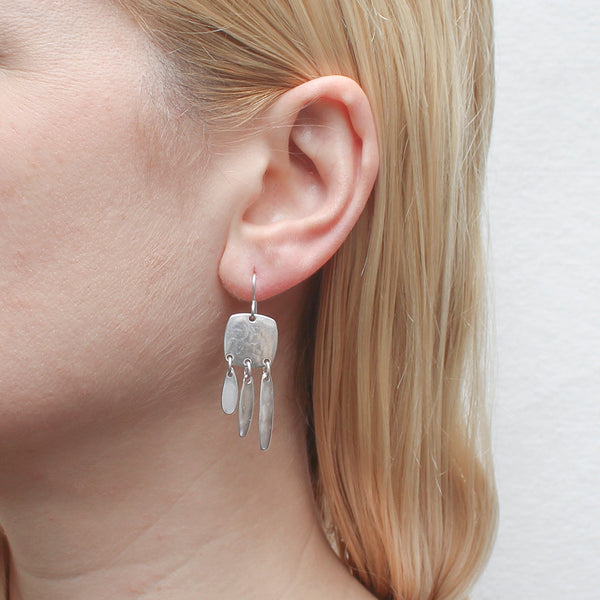 Square with Graduated Fringe Wire Earring