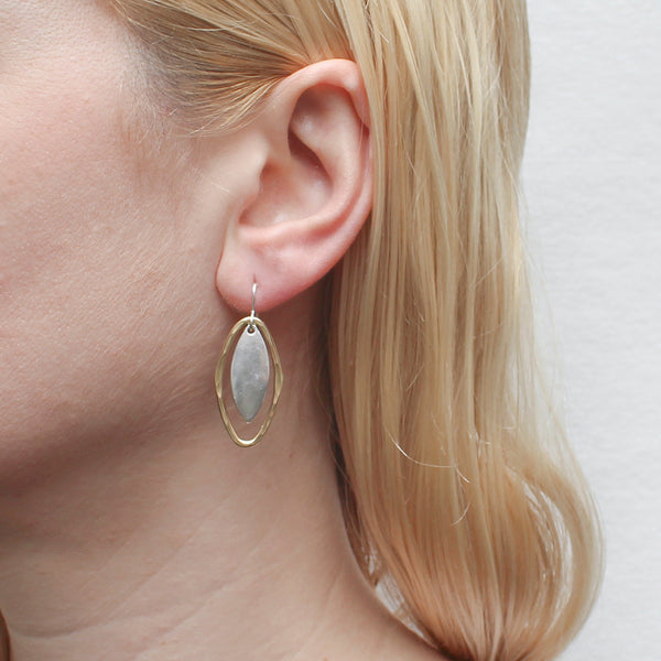 Domed Leaf with Hammered Oval Ring Earring