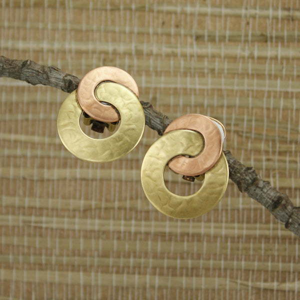 Brass and Copper Post or Clip on Earrings
