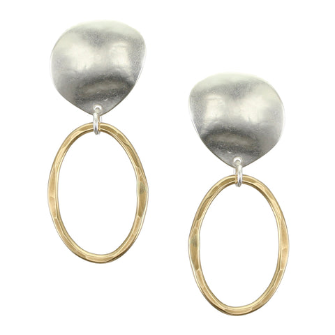 Organic Teardrop with Wave Texture and Hammered Oval Hoops Post or Clip Earring