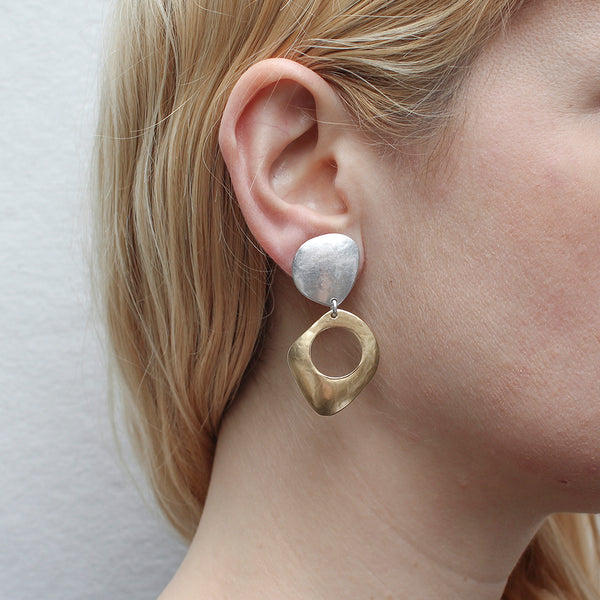 Domed Organic Teardrop with Domed Shield with Cutout Post or Clip Earring