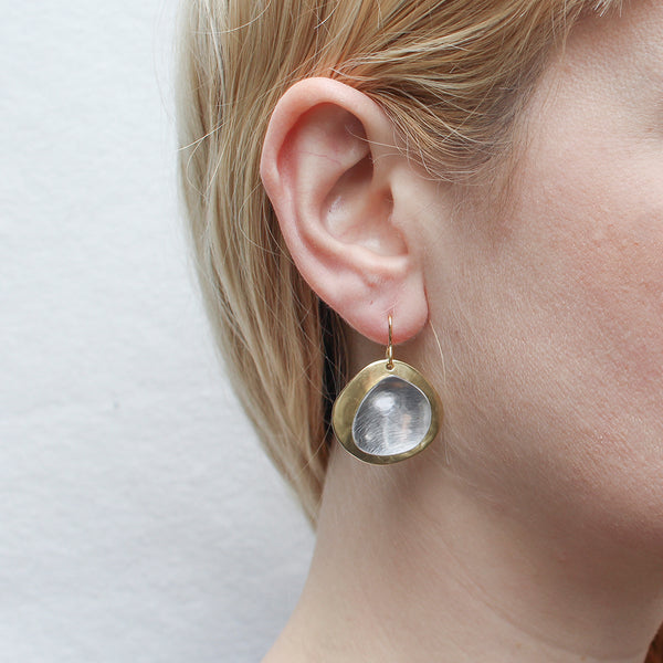 Domed Organic Disc and Dished Organic Teardrop Wire Earring