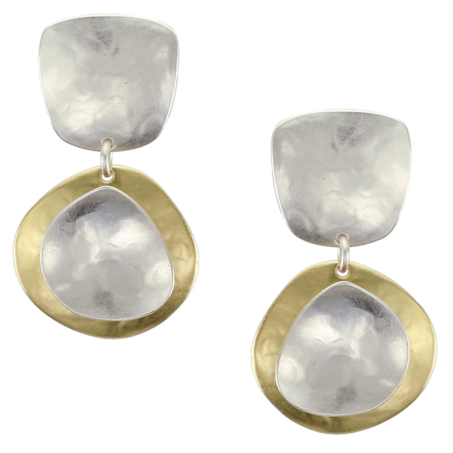 Tapered Square with Domed Organic Disc and Dished Organic Teardrop Post or Clip Earring
