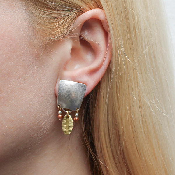 Tapered Square with Beads and Patterned Oval Post or Clip Earring