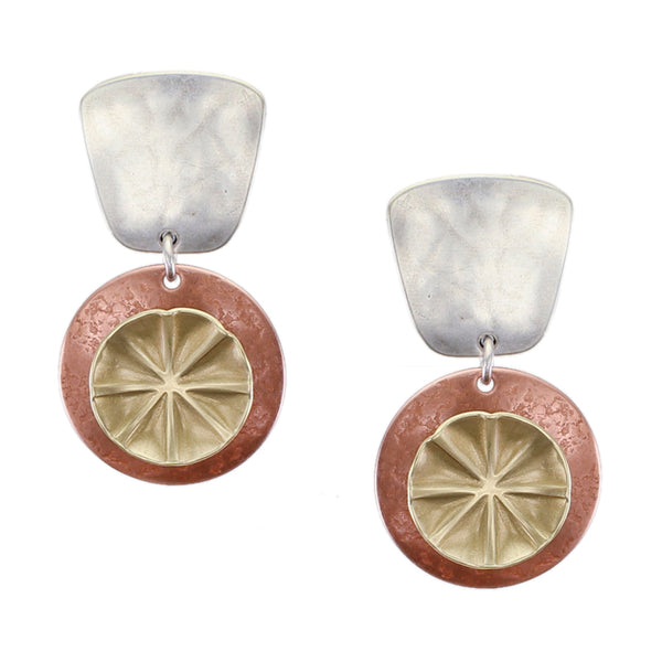 Tapered Square with Textured Discs Post or Clip Earring