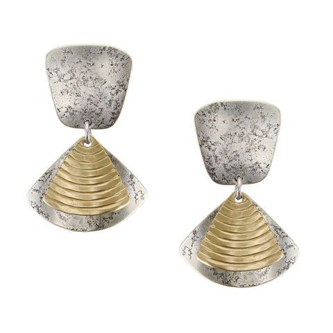 Tapered Square with Textured Fans Post or Clip Earring