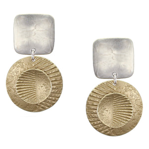 Square with Textured Discs Post or Clip Earring