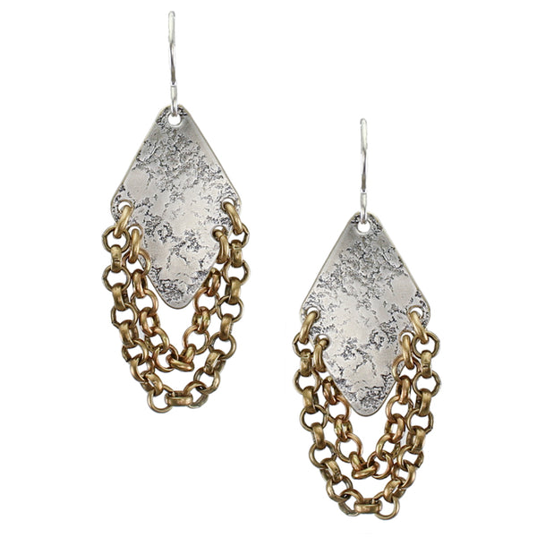 Textured Diamond with Chain Loops Wire Earring