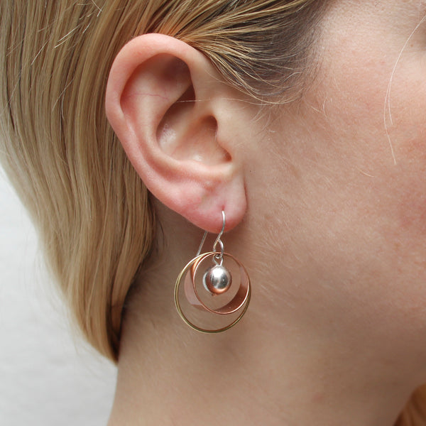 Wire Ring with Rim and Bead Wire Earring