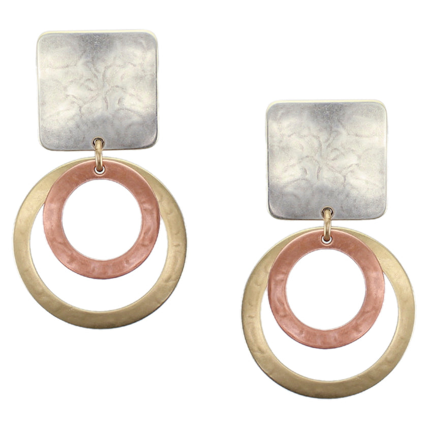 Square with Two Rings Clip or Post Earring