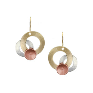Medium Layered Rings with Dished Disc Wire Earring