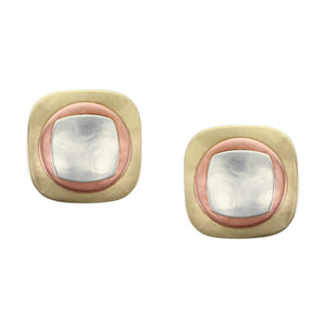 Rounded Square with Disc and Smaller Rounded Square Stacked Post or Clip Earring